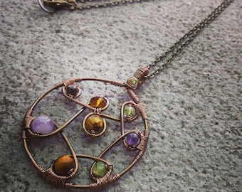 Wire Wrapped Circle Pendant Necklace