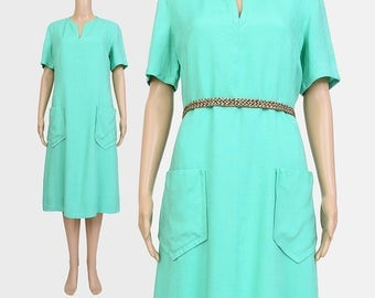 Vintage 60s Green Dress | Mod Shift Dress | Short Sleeve Shift Dress Linen Minimalist Mod Dress | Pocket Dress | Mint Seafoam | size Large L