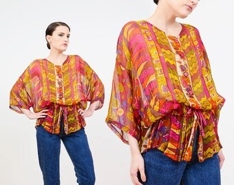 90s Sheer Blouse | Watercolor Abstract Blouse | Ethnic Print Shirt | Drawstring Waist Top | Boho Oversize Shirt | Short Sleeve Top | M L