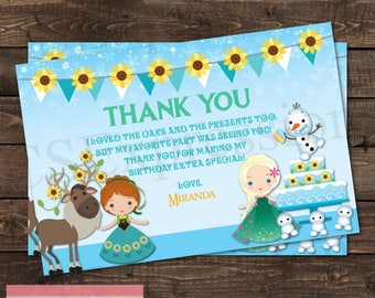 SunFlower Banner Winter Princess Birthday Party Thank you Card