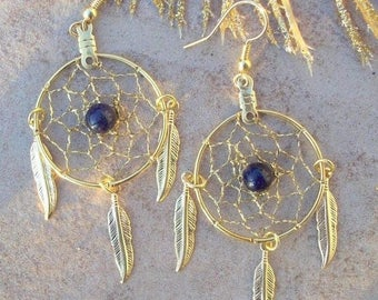 SALE dream catcher earrings, GOLDSTONE and GOLD Feathers Large Dream catcher earrings with Goldstone, dream catcher earrings, gold dangly ea