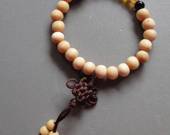 Chakra Mala Bracelet - Sandalwood with peace knot