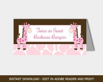 Twin Pink Girl Giraffes Food Buffet Labels, Twins Baby Shower Tent Cards, Table Cards, Editable Text INSTANT DOWNLOAD bs-002b