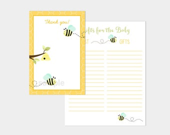 Bumble Bee Mint Green Wings Baby Shower Thank You Card and Gift Tracking List Printable INSTANT DOWNLOAD bs-156