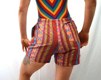 Vintage 90s Rad Rainbow Surf Mini Shorts Trunks