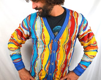Vintage 80s 90s COOGI Style Cotton Rainbow Geometric Striped Cosby Sweater Cardigan