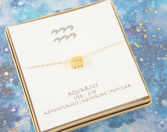 gold zodiac Aquarius necklace, birthday gift, custom personalized, gift for women girl, minimalist, simple necklace, layered