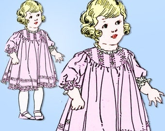 1910s Vintage McCall Sewing Pattern 6960 Uncut Baby Girls Dress Size 6 months