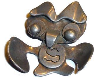 Modernist Owl Brooch. Sterling Silver Pin. Vintage Mid-Mod Circa 1950s. Killer Modernism Design.