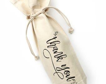 wine bag, thank you, canvas wine bag, wine gift, hostess gift, housewarming present, birthday gift, wine gift, thank you gift