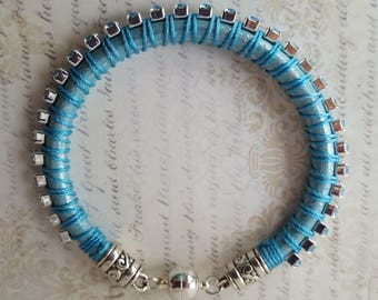 Metallic Turquoise Leather and Swarovski Crystal Bracelet