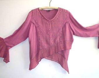 1980s raspberry beaded rayon bohemian gypsy top