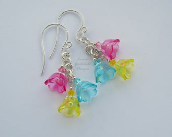 Flower posy earrings, pink yellow and blue earrings, pink bell flower earrings, multi coloured, sterling silver earrings, flower earrings,