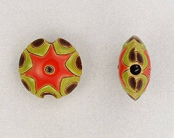 Carved Sun Design Bead In Red, Green And Brown Tones, Large Hole Beads, Golem Beads