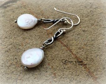 White Coin Pearl Earrings, Sterling Silver Freshwater Pearl Earrings, Silver Earrings, Oxidized Earrings