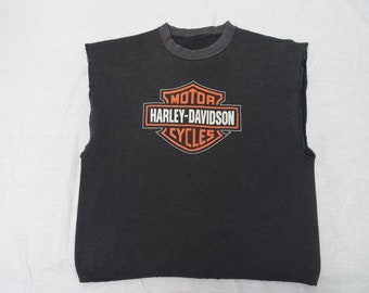 Vintage HARLEY-DAVIDSON Motorcycles 80's Biker Muscle Style CUT Cycle Shop Sweatshirt