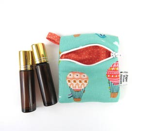 Mini Essential Oil Bag - Hot Air Balloon - roller bottle case travel case essential oil storage IEM case earbud rollerball READY TO ship