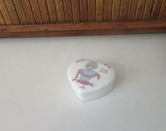 You Have Touched So Many Hearts Heart Trinket Box – Precious Moments Porcelain Heart Jewelry Box – Vintage Precious Moments Collectible Box