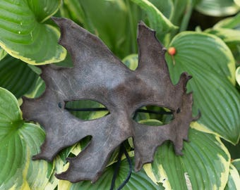 Dark Brown Split Leather Red Oak Leaf Mask