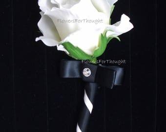 White Rose Boutonniere, FFT Design, Black Ribbon Silk Wedding Flower Groom Groomsmen Wedding Accessory, Made to Order