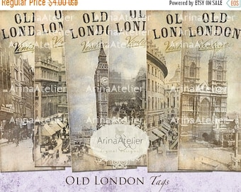 SALE - 30%OFF - BOOKMARKS Old London - Digital Tags - Hang Tags - Vintage Collage - gift Tags, scrapbooking, mixed media, altered art - pape