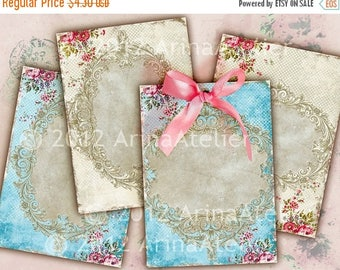 SALE - 30%OFF - Vintage Roses Romantic ATC Cards - Background - background - digital collage sheet - set of 4 - Printable Download