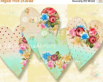 SALE 30%OFF - Shabby Chic Hearts - Romantic roses - 2,6x3,5 Tags - digital collage sheet - Collage Tags - Hang Tags - Digital Stickers - Dig