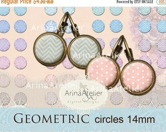SALE 30%OFF - Digital collage Circles Geometric MIX 14 mm - Digital Collage Sheet for 14 mm Earrings - Bottle caps - Pendants - Magnets - Br