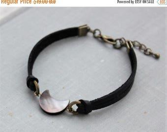 VACATION SALE- Black Tahiti Pearl Half Moon Leather Bracelet