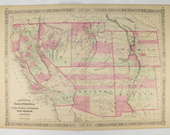 Antique Western US Map Mitchell DeSilver Map California - Map of the western us