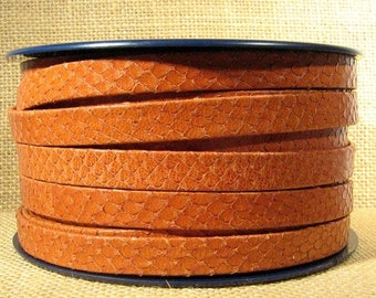 5 Feet - 10mm Flat Leather - Light Brown Snakeskin Texture