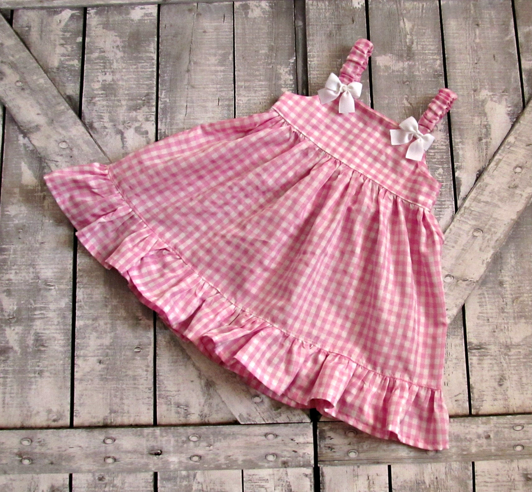 Girls Pink Gingham Dress Baby Girl Dress Toddler Dress Sundress