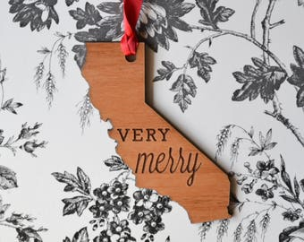 VERY MERRY Engraved California Ornament