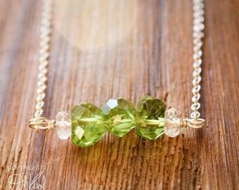 ON SALE Green Peridot Birthstone Necklace - August Birthstone - Crystal Quartz, 925 Silver