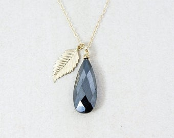 ON SALE Gold Black Pyrite Necklace - Feather Charm - 14K Gf