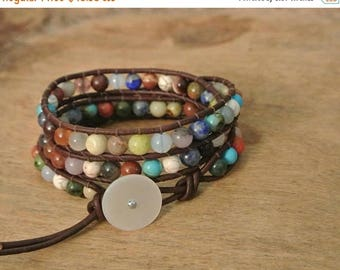 50% OFF SALE Andelyn Gemstone  Beaded Leather Wrap Bracelet