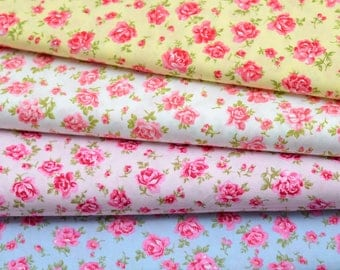 "Quilt Four Fat Quarters 18x22"" English Floral Roses Pattern in Multi-Colored"