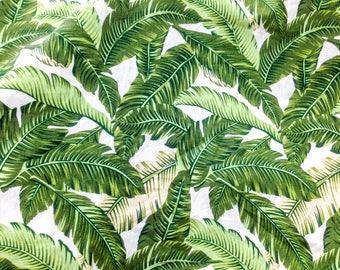 "Quilt Half Yard Cotton Fabric 18x44"" Amazon Tropical Palm Leaf Green Tone"