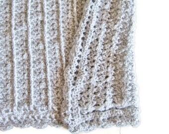 Crocheted Baby Blanket, Grey Afghan,  Unisex Blanket, Baby Shower Gift, Receiving Blanket, Gender Neutral, Grey and White, Gray Marl, Soft