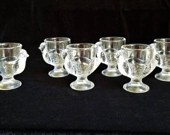 6 Vintage French Glass Hen Egg Cups, Country French Decor, Primitive, Easter Cup, Clear Glass Coquetier, Chicken Shot Glass, Boiled Egg Cup