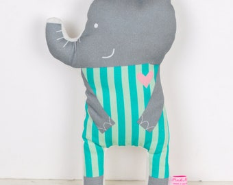 elephant cloth doll in turquoise stripes and gray