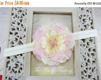 Ivory and Pink Flower Headband, Pink and Ivory Silk Flower with Sequins Ivory Stretchy Headband or Hair Clip, Newborn Baby Toddler Girl