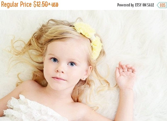 Yellow Hair Bow, Pastel Yellow Chiffon Hair Bow w/ Pearls Stretchy Yellow Headband or Hair Clip, Easter, Baby Toddler Child Girls Headband