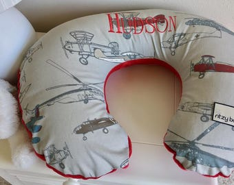 Vintage Airplane Boppy Cover, Airplanes Nursery Items, Baby Boy Vintage Airplane Pillow Cover, Nursing Pillow Cover, Personalized Covers