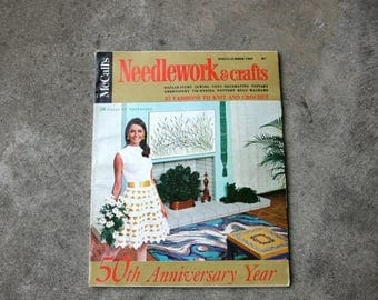 SALE SALE SALE Vintage Magazine McCalls Needlework and Crafts 50th Anniversary Spring Summer 1969 Sewing Embroidery Knit Crochet Decorating