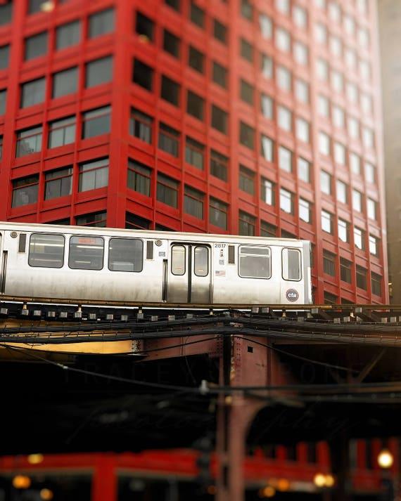Chicago El Train, CNA Building, Chicago Photography, Skyline Print, Brick Red, Silver, Cityscape Wall art print, Orange Line, CTA Loop Train