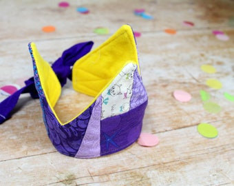 IVY Patchwork Fabric Crown in purple