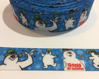 3 Yards of Ribbon 1 inch Wide - Blue and White Frosty the Snowman