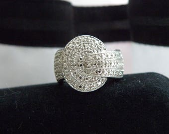 Art Deco Style Sterling Silver 925 Chunky Diamond Illusion w Diamond Accent Cocktail Ring Size 7