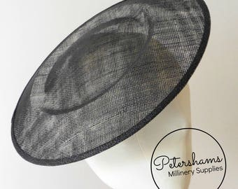 Extra Large 29cm Round Saucer / Plate Sinamay Fascinator Hat Base for Millinery - Black